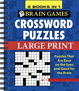 Brain Games - 2 Books in 1 - Crossword Puzzles (Large Print)
