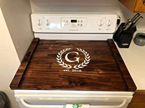 Rustic Stove Top Cover, Wooden Tray For Stove, Monogram Stove Cover, Decorative Stove Tray