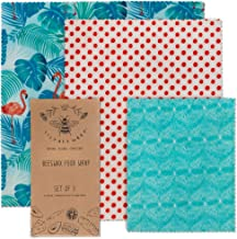 Lilybee Beeswax Wrap Reusable Food Wraps | 3 Pack Sustainable Zero Waste Bees Wax Food Wrappers | Biodegradable & Plastic Free Clingwrap Alternative(Flamingo Island, 3 Pack).