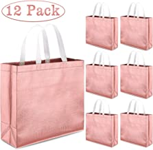 Whaline Set of 12 Glossy Reusable Grocery Bag, Tote Bag with Handle, Non-woven Stylish Present Bag, Gift Bag, Goodies Bag, Shopping Bag, Promotional Bag, for Party, Event, Wedding, Birthday(Rose Gold)