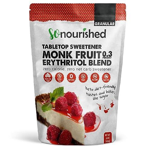 Monk Fruit Sweetener with Erythritol Granular - 1:1 Sugar Substitute, Keto - 0 Calorie, 0 Net Carb, Non-GMO