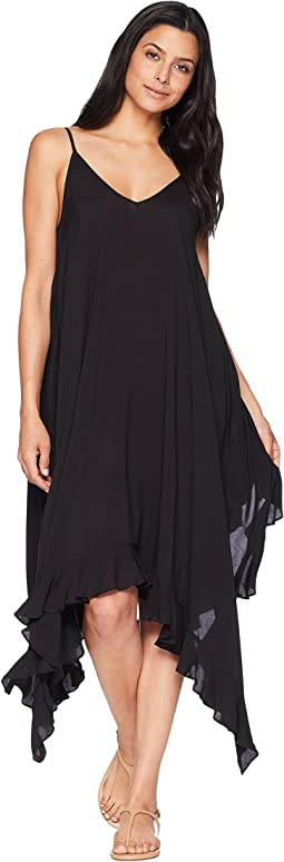 Rayon Handkerchief-Hem Dress w/ Ruffle Cover-Up