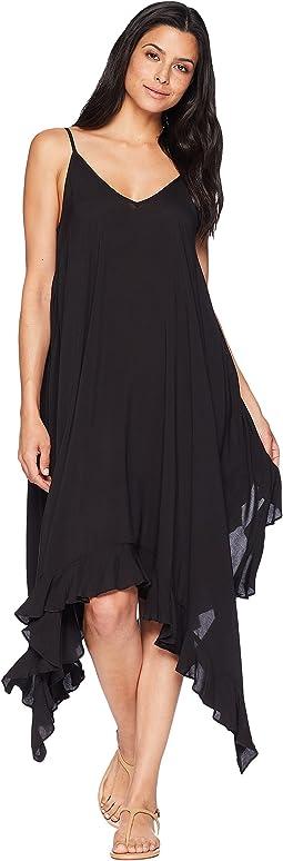 Bleu Rod Beattie Rayon Handkerchief-Hem Dress w/ Ruffle Cover-Up
