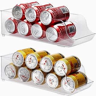 E-Gtong 2-PACK Refrigerator and Freezer Drink Can Holder Storage Bin, Clear Plastic Soda Can Storage Organizer Bin - BPA Free