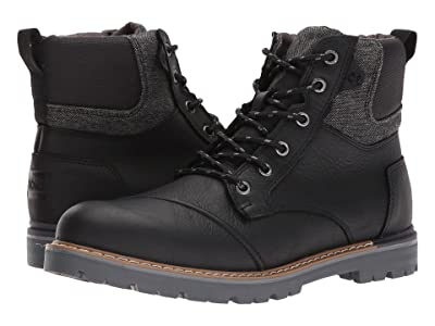 TOMS Ashland Waterproof Boot (Black Pull-Up Leather) Men
