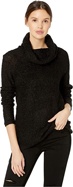Lurex Blend Cowl Neck Long Sleeve Top