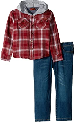 Two-Piece Set Twill Plaid Hooded Sport Shirt with Medium Wash Denim Jeans (Toddler)