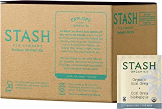 Stash Tea Organic Earl Grey Tea 100 Count Tea Bags in Foil (Packaging May Vary) Individual Tea Bags for Use in Teapots Mugs or Cups, Brew Hot or Iced