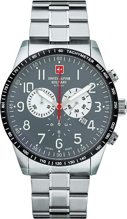 Orologio da uomo, cronografo 10 atm, con cinturino in acciaio inox. swiss alpine military by grovana 7082.9138SAM