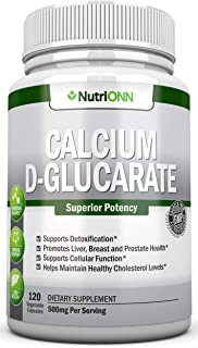 Calcium D-Glucarate - 500mg - 120 Vegetable Capsules - Superior Potency To Support Liver Detoxification, Estrogen Metabolism & Hormonal Balance- Helps With Weight Loss, Prostate, Breast & Colon Health