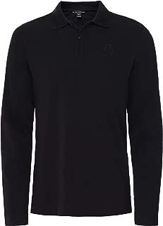Belstaff Men's Pique Cotton Long Sleeve Polo Shirt Black