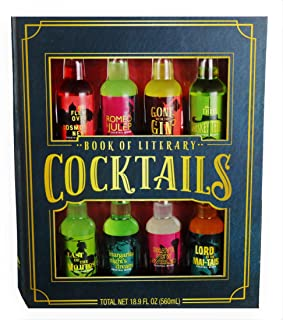 Thoughtfully Gifts, Book of Cocktails Gift Set, 2.3 Ounces Each, Mixers of Cosmo, Mint Julep, Gin, Whiskey, Mojito, Margarita, Swirled and Mai-Tai, Set of 8 (Contains NO Alcohol)