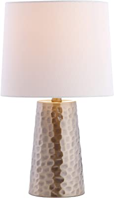 Safavieh Lighting Collection Torence Plated Gold 18-inch Bedroom Living Room Home Office Desk Nightstand Table Lamp (LED Bulb Included)