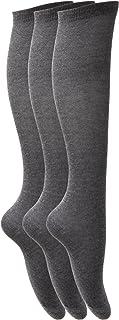 Calcetines lisos largos hasta la rodilla de uniforme de colegio para niña (pack de 3)