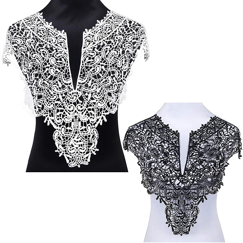2PCS Lace Collar Applique Sewing On Patches Large Floral Embroidered Lace Neckline