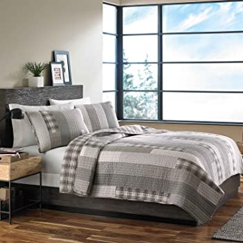 Eddie Bauer Fairview Collection 100% Cotton Reversible & Light-Weight Quilt Bedspread with Matching Shams, 3-Piece Bedding Set, Pre-Washed for Extra Comfort, Full/Queen, Grey