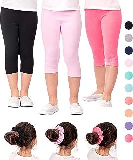 Girls' Capri Leggings 3 Pack Girl Stretch Kids Toddler Pants + Hair Ties (G2)