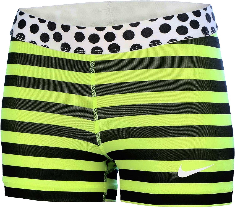 Nike Vrouwen Dri-Fit 3  Compression Strepen en Stip Shorts, Zwart   Volt, XL B006CQVTYW  Bequeme Berührung