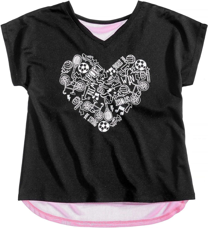Ideology Layered-Look Heart-Print T-Shirt, Little Girls Noir Size 5