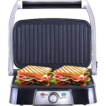 NETTA Grill multifonction, plancha, presse à paninis, appareil à sandwichs. 1500W, plaques anti adhésives, intensité réglable. Couleur argent.