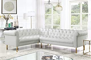 Iconic Home Noah Left Facing Sectional Sofa L Shape PU Leather Upholstered Button Tufted Roll Arm Design Solid Gold Tone Metal Legs, Modern Transitional, Cream