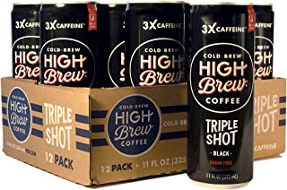High Brew Cold Brew Coffee Black Triple Shot, 11 Ounce Can (12 Count)