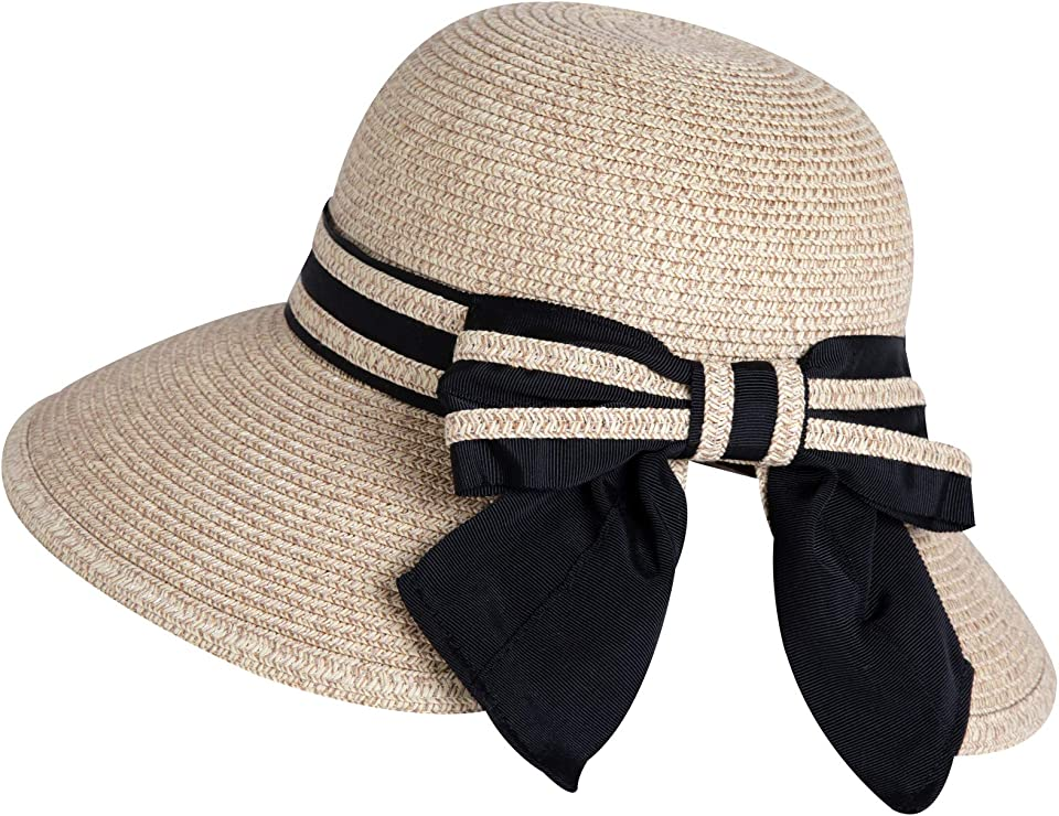 Comhats Ladies Sun Hats UPF 50 Wide Brim Straw Beach Hat Foldable Ponytail Bownot