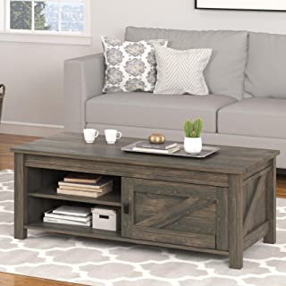 Ameriwood Home Farmington Coffee Table and 2 End Tables Bundle, Weathered Oak