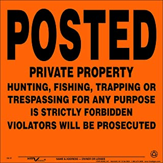 Voss Signs Orange Aluminum Posted Private Property Signs (100 pack)