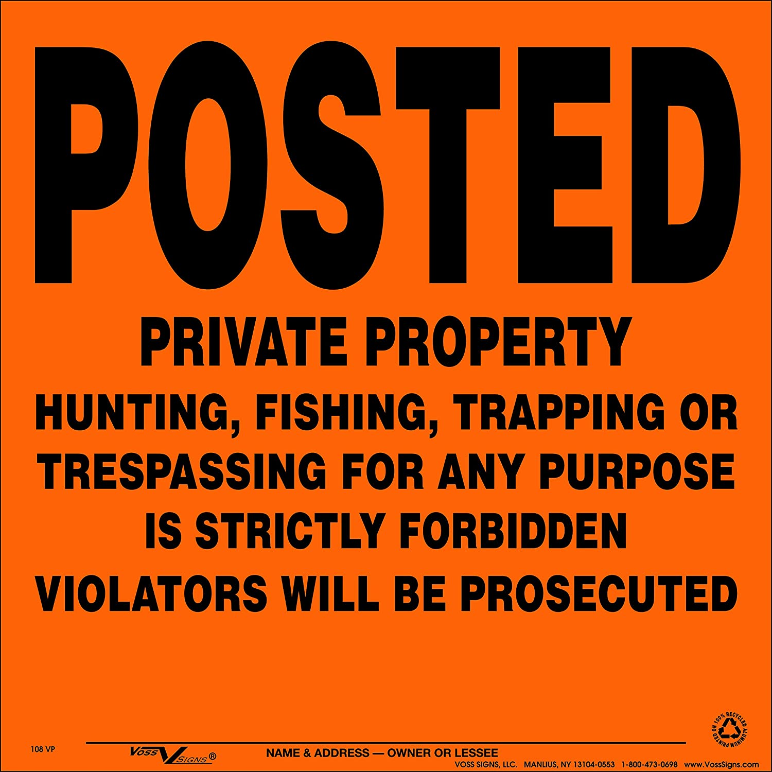 Max 88% OFF Voss Signs Orange Aluminum Posted 35% OFF Property 100 Private Pa