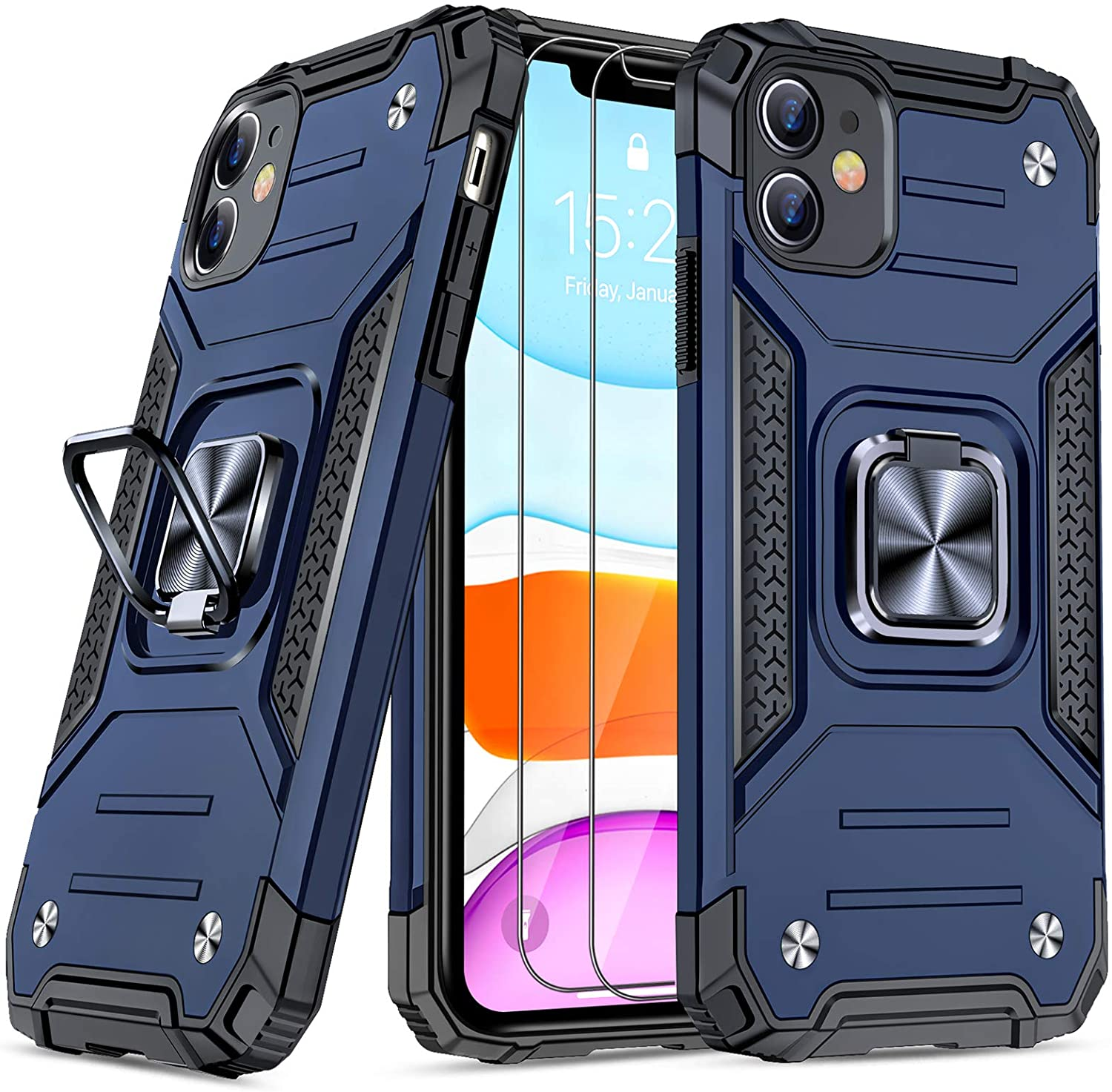 JAME Designed for iPhone 11 Case with Screen Protector 2PCS, Military-Grade Drop Protection, Protective Phone Cases, with Ring Kickstand Shockproof Bumper Case for iPhone 11 6.1 Inch Blue