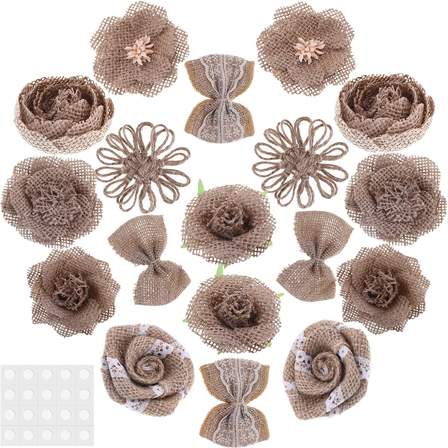 Tatuo 18 Pieces Burlap Flowers Rustic Lace Flower Bow Knot Roses with Adhesive Glue Point for DIY Craft Bouquets Home Wedding Christmas Party Decoration