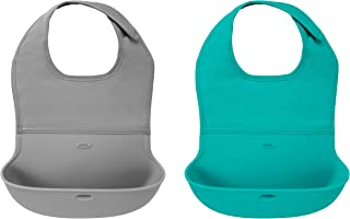 OXO Tot 2-Piece Waterproof Silicone Roll Up Bib with Comfort-Fit Fabric Neck, Gray/Teal