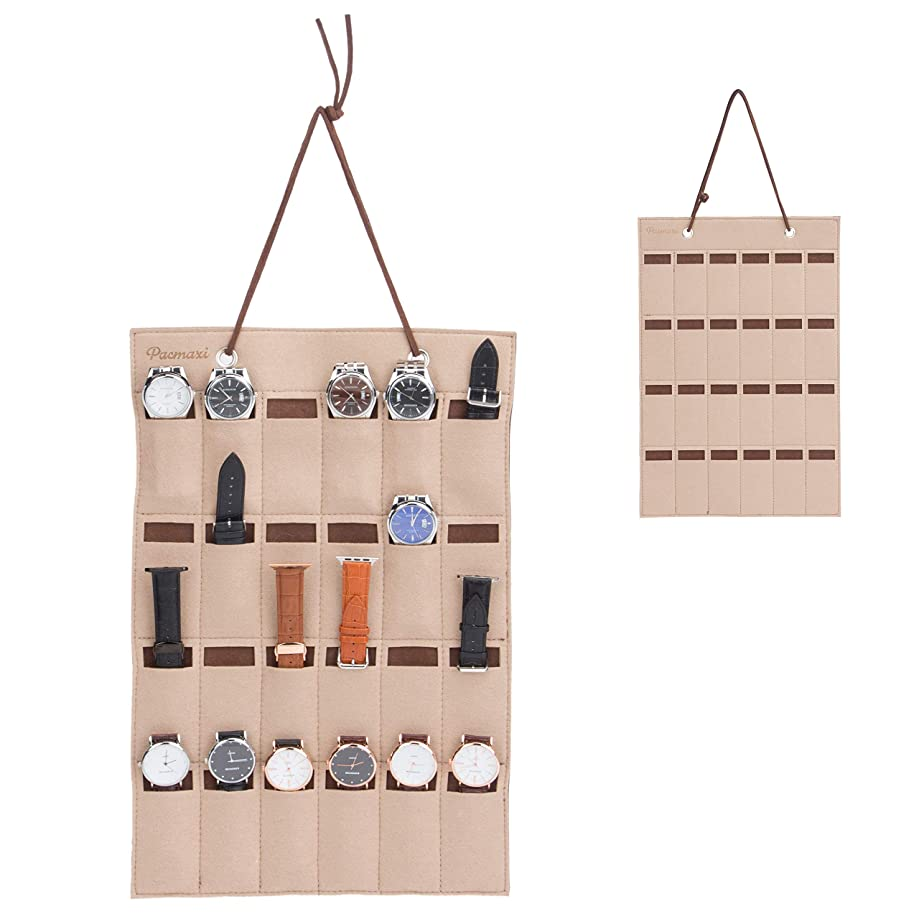 PACMAXI Watch Band Hanging Storage Organizer, Watch Display Storage Roll Holds 24 Watches Expandable for Most Sizes of Watch Bands,Organizer for Watch Band Straps Accessories