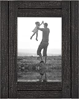 Americanflat 5x7 Charcoal Black Distressed Wood Frame - Made to Display 5x7 Photos - Ready to Hang - Ready to Stand - Built-in Easel