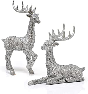 Reindeer Decorations Christmas Deer Decor - Set Of 2 Holiday Reindeer Figurines Standing And Lying Silver Glitter Indoor Decorative Ornaments For Tabletop Kitchen Mantle Shelf Desk Office Winter Decor