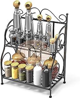 WOOD ART STORE Spice Rack, 2-Tier Foldable Shelf Rack Kitchen Bathroom Countertop, 2-Tier Standing Storage Organizer Spice...
