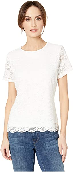 Short Sleeve Lace Knit Tee