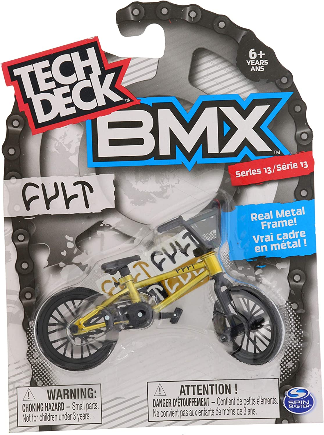 Flares Cult Spin Master BMX Finger Bike Series 13 and Moveable Tech Deck Parts for Flick Tricks Replica Tech Deck Bike with Real Metal Frame Gold Graphics Grinds and Finger Bike Games