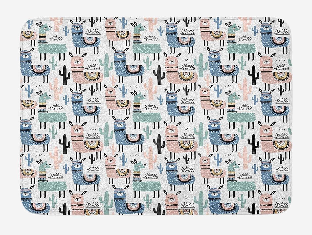 ねじれウミウシ書誌Amxxy 子供の漫画スタイルの手描きの南アメリカの動物のアルパカとラクダのデザインの滑り止めバスマットドアマットフランネル素材ホテルのバスルームに適した屋外ドア装飾ルーム
