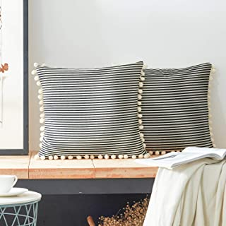 Best COMHO Cotton Woven Stripe Throw Pillow Covers with Pom Poms, Decorative Cushion Covers, Square Farmhouse Pillowcases, for Sofa Bedroom Couch Chair 20x20 Inch (Black, Pack of 2) Review