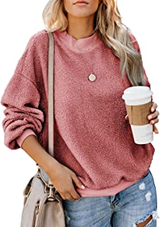ReachMe Womens Long Sleeve Oversized Fuzzy Sweater Casual Crewneck Fleece Pullover Tops Outerwear