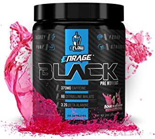 eFlow Nutrition Enrage Black High Stimulant Pre Workout Supplement - Preworkout Powder to Boost Energy, Pumps and Strength...