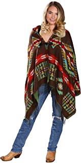 Women's Hooded Poncho in Southwest Geometric Patterns and Rich Colors Cardigan Poncho Hoodie Cape with Fringe