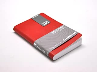 "Zequenz Classic 360 Soft Bound Notebook""Mini"" Pocket size journal Red 8.9cm x 14cm Grid pattern 128 sheets / 256 pages premium paper"