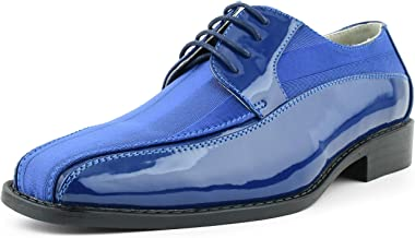 Amali Men's Formal Oxford Dress Shoe Striped Satin and Patent Tuxedo Classic Lace Up, Avant Style