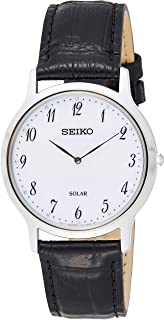 Seiko Unisex-Adult Solar Powered Watch, Analog Display and Leather Strap SUP863P1