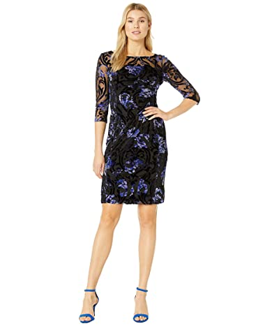 Tahari by ASL Long Sleeve Illusion Burnout Floral Dress (Black/Purple Burnout) Women