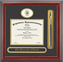 Signature Announcements University of Toledo (UT) Undergraduate Graduation Diploma Frame with Sculpted Foil Seal, Name & Tassel (Cherry, 16 x 16)