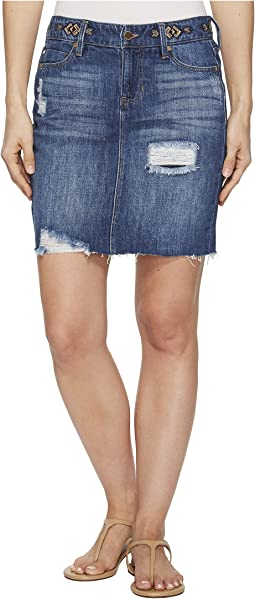 Frey Edge Skirt with Distress in a Classic Soft Rigid Denim in Primrose Shred